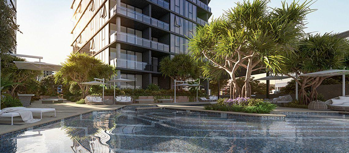Brisbane 1 Breaks Ground - Exterior Pool Podium