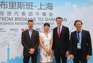 Place Design Group MD, China, Mark Burgess and Place Design Group MD, Shaun Munday with Brisbane Lord Mayor, Graham Quirk